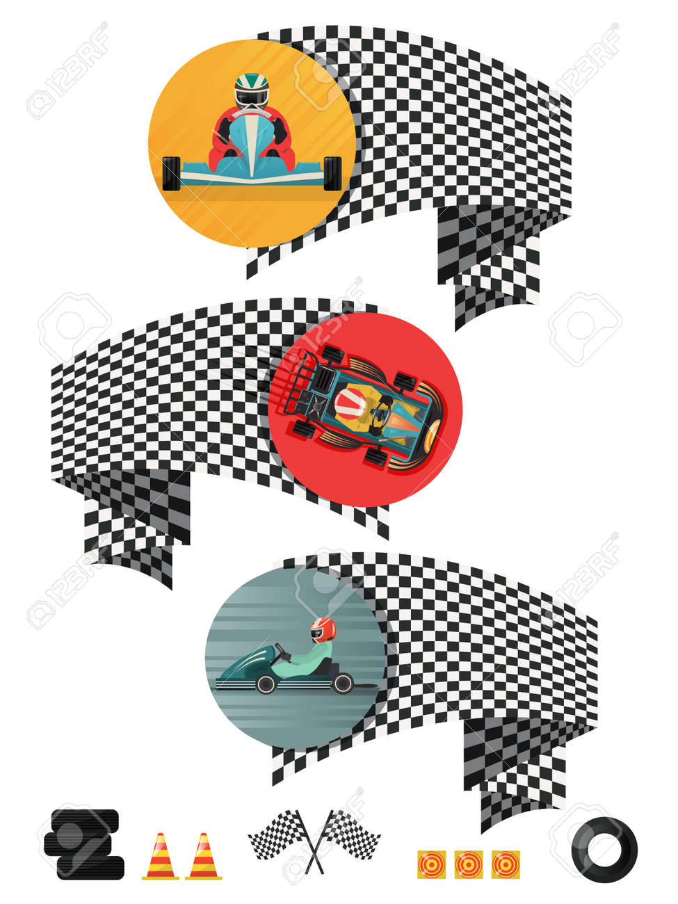 Kart racing concept set with checkered flag isolated vector illustration. - 71619687