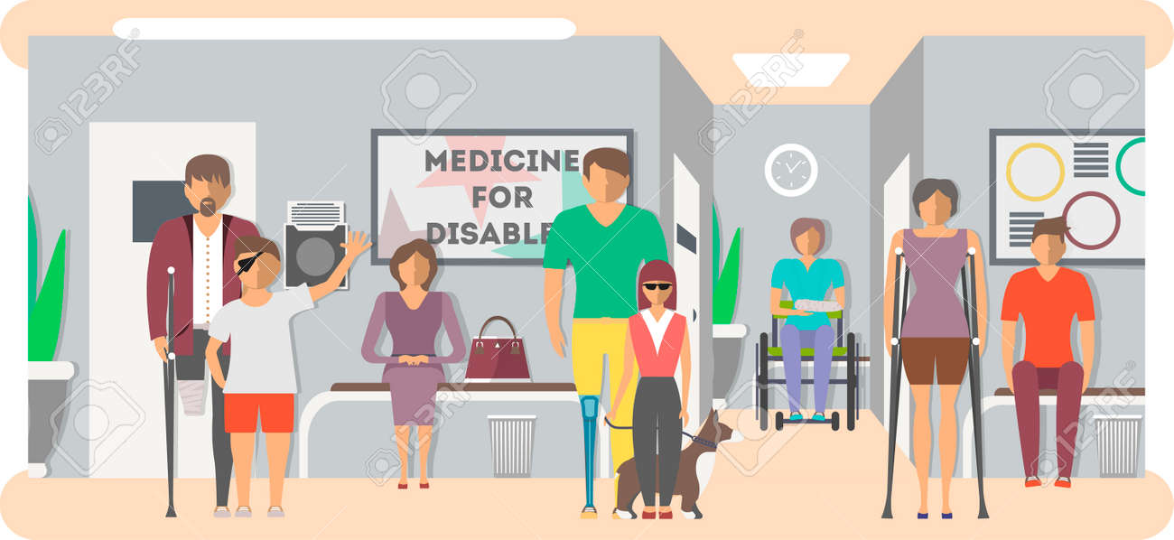 Disabled people in hospital banner in flat style vector illustration. Invalid persons, blind woman, broken arm, people on wheelchair, prosthetic arms and legs. Healthcare assistance and accessibility. - 72807158