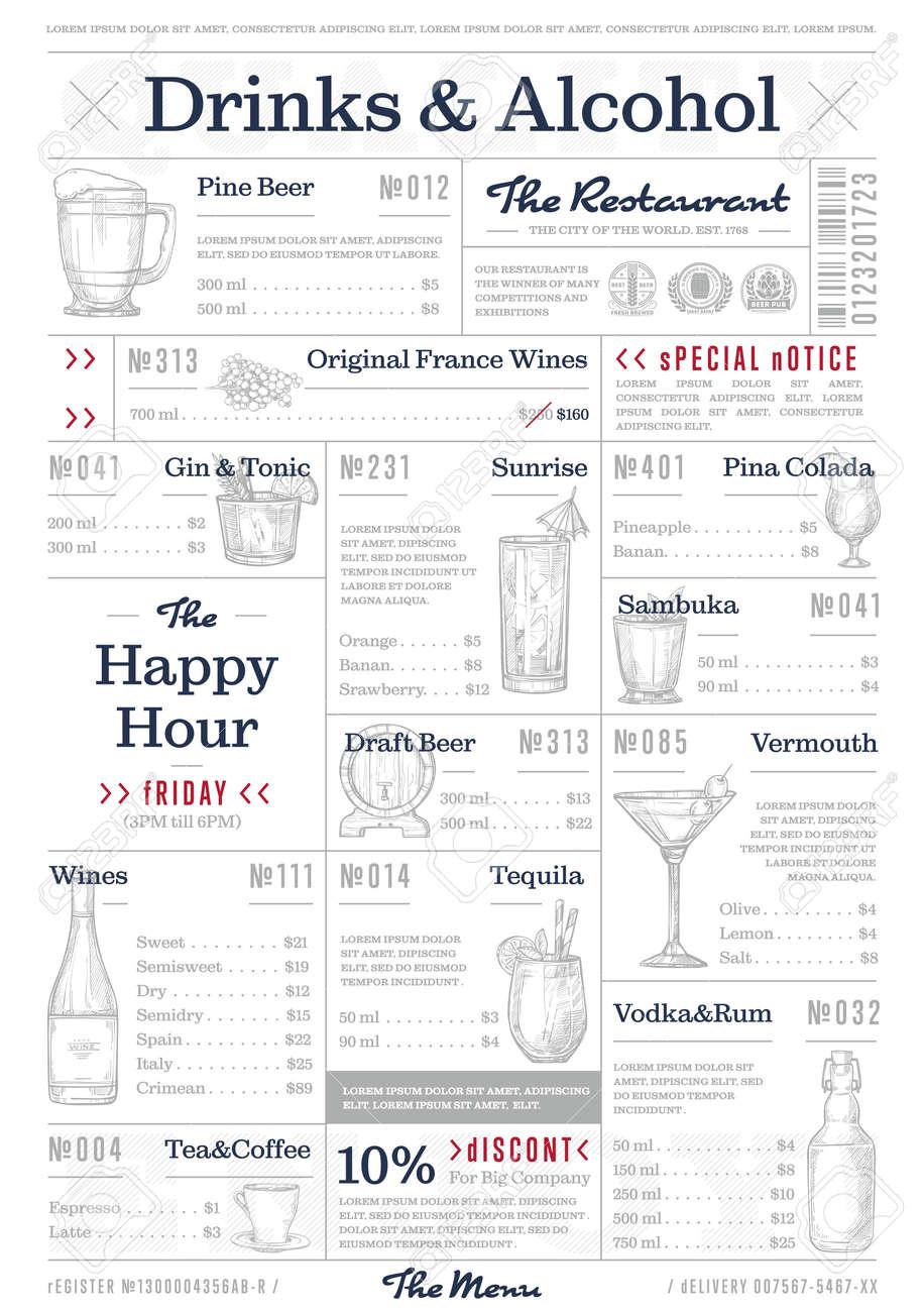 Carte Restaurant Boisson.Illustration Vectorielle De Design Vintage Restaurant Ou Cafe Menu Carte De Boissons Et D Alcool Carte De Cocktail Depliant De Bar Ou De Pub Avec