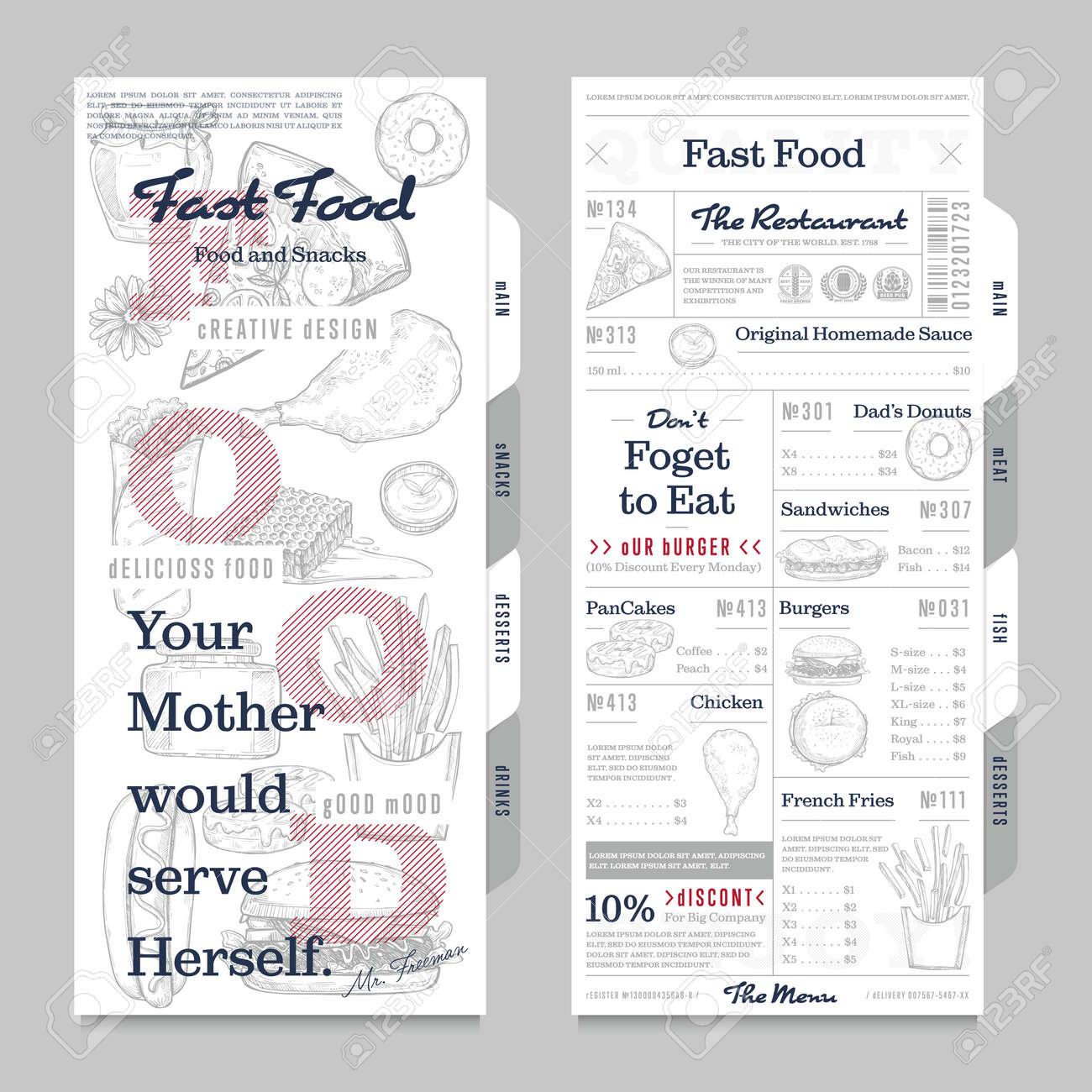 ejemplo del vector del diseño del vintage del menú del restaurante o