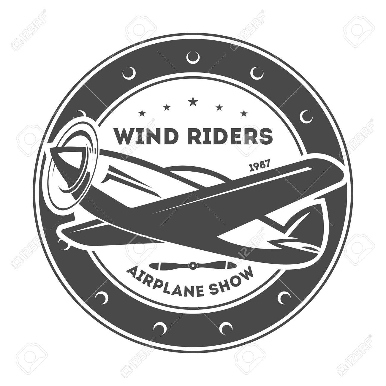 Airplane vintage isolated label vector illustration. Wind riders show and best pilot symbols. Airplane academy and flying club sign. Air travel and plane tours logo. Airplane shool logo template - 72807653