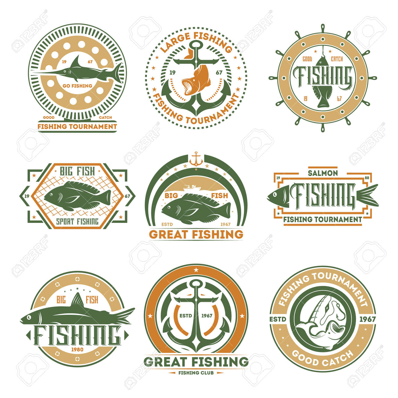 Great Fishing Tournament Vintage Isolated Label Vector Illustration
