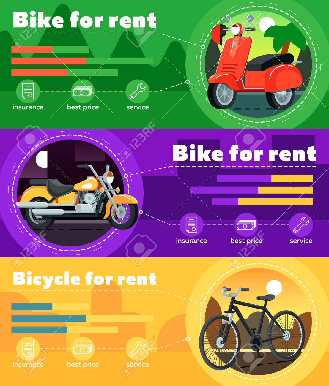 Bike For Rent Banner Set Vector Illustration Motorcycle Rental Royalty Free Cliparts Vectors And Stock Illustration Image 73954516