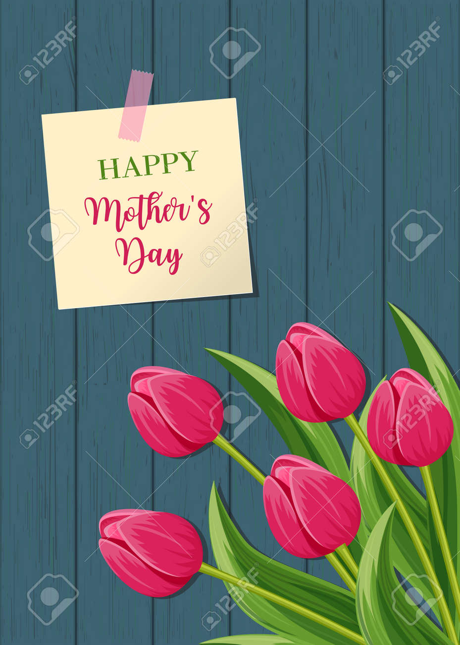 Happy mothers day greeting card with pink blooming tulip flower happy mothers day greeting card with pink blooming tulip flower on wooden background vector illustration kristyandbryce Choice Image