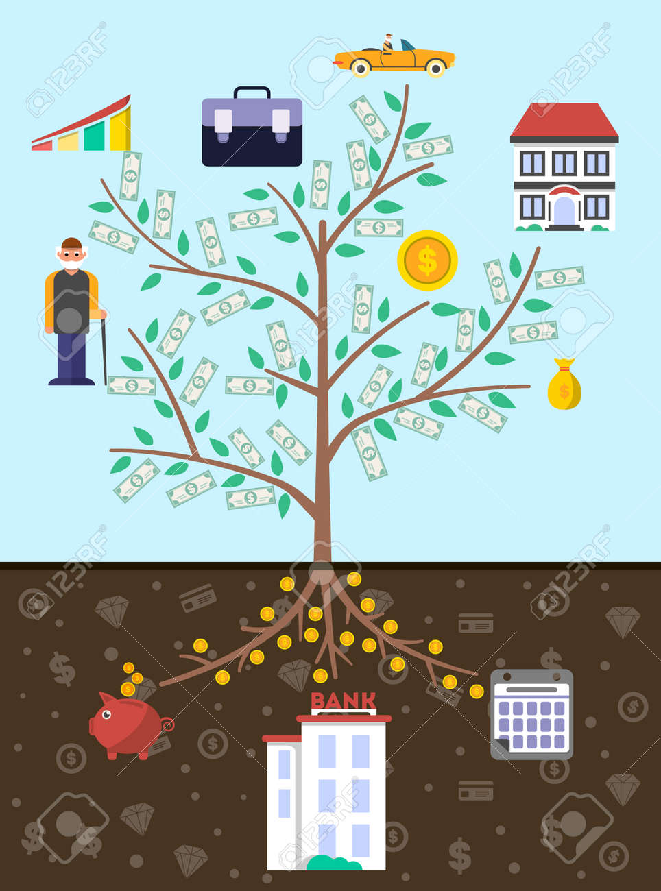 Artistic old age infographics with money tree vector illustration. Presentation of retirement money, financial growing, strategic management of pension finance, saving money, annuity insurance - 74227114