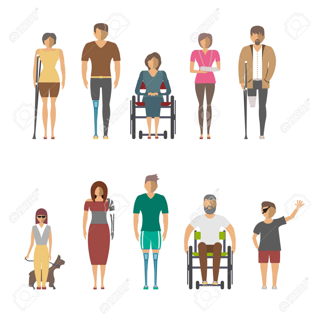 Disabled people isolated set in flat design vector illustration. Invalid person, blind woman, broken arm, people on wheelchair, prosthetic arms and legs. Healthcare assistance and accessibility - 74377226