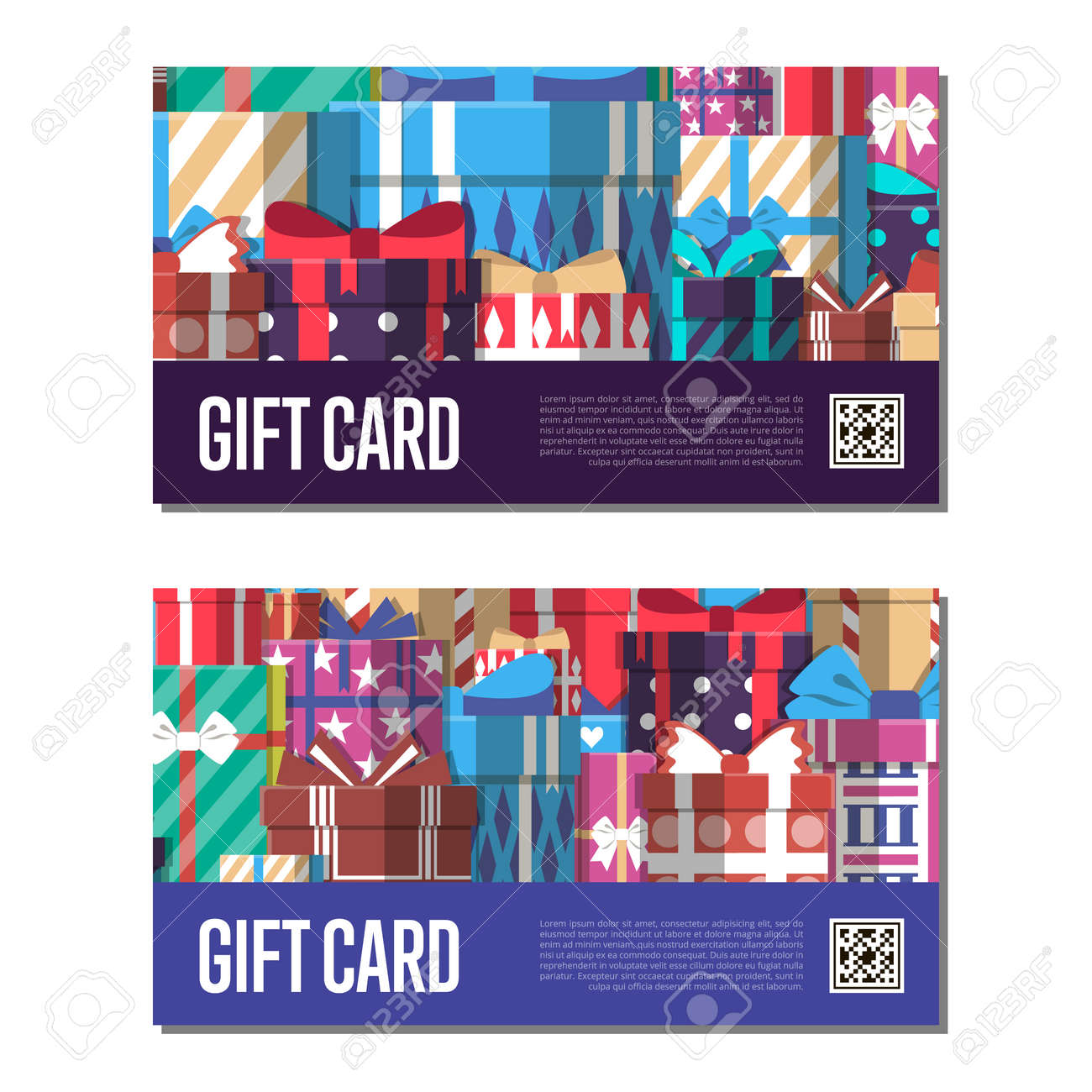 Gift card template set with gift box vector illustration shopping gift card template set with gift box vector illustration shopping certificate retail coupon yadclub Choice Image