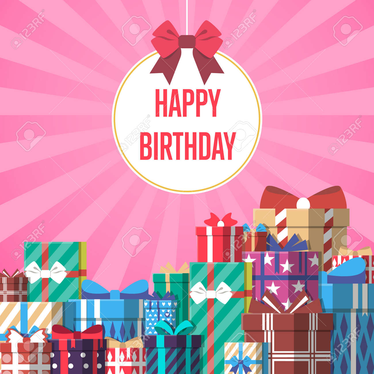 Happy birthday greeting card template with colorful gift box happy birthday greeting card template with colorful gift box vector illustration pile of wrapped gift bookmarktalkfo Images