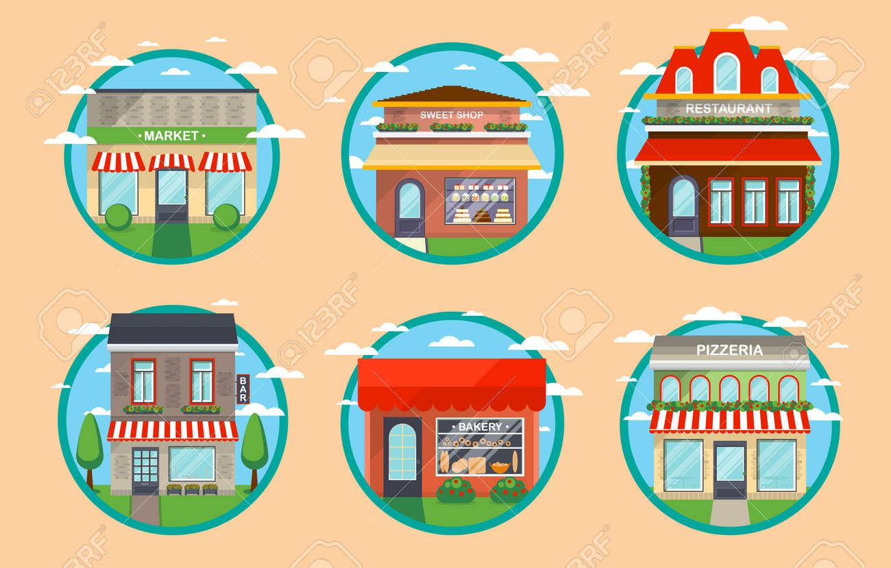 Restaurant And Shop Facade Label Set Vector Illustration Cafe Royalty Free Cliparts Vectors And Stock Illustration Image 74650098