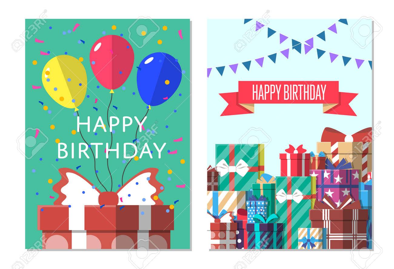 Happy birthday greeting card design set vector illustration happy birthday greeting card design set vector illustration birthday banner with present box in flat kristyandbryce Choice Image