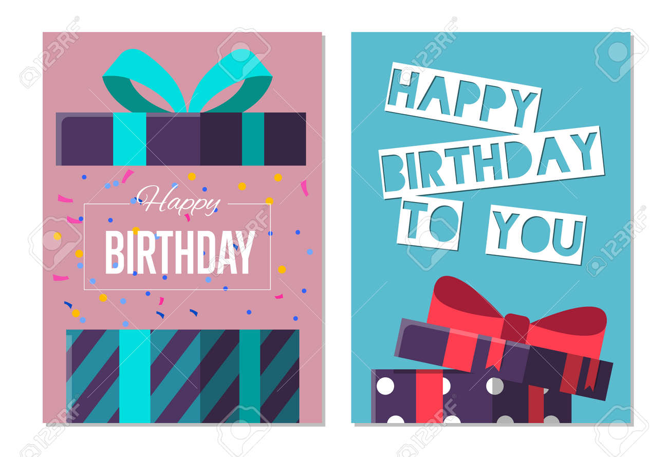 Happy Birthday To You Greeting Card Design Set Vector Illustration