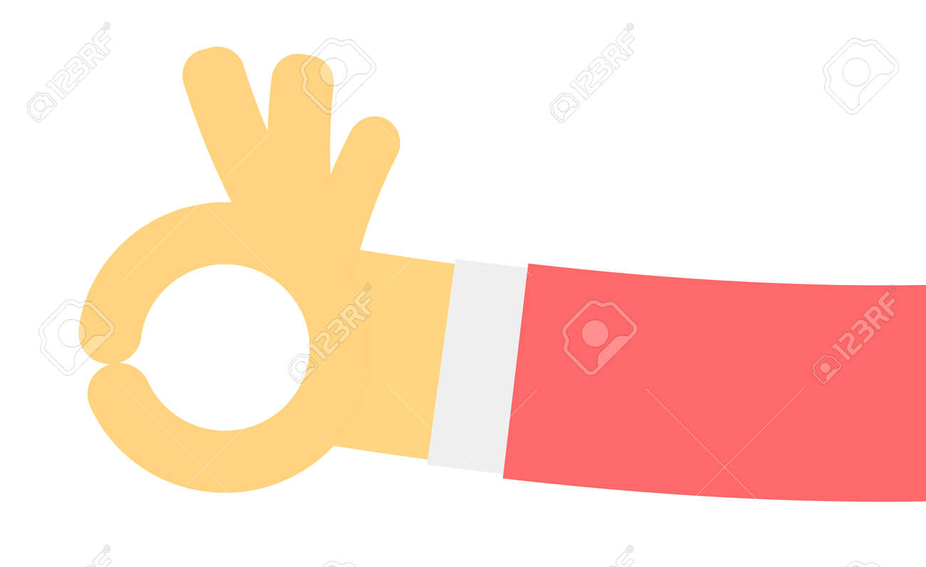 Ok Hand Gesture In Flat Design Royalty Free Cliparts Vectors And