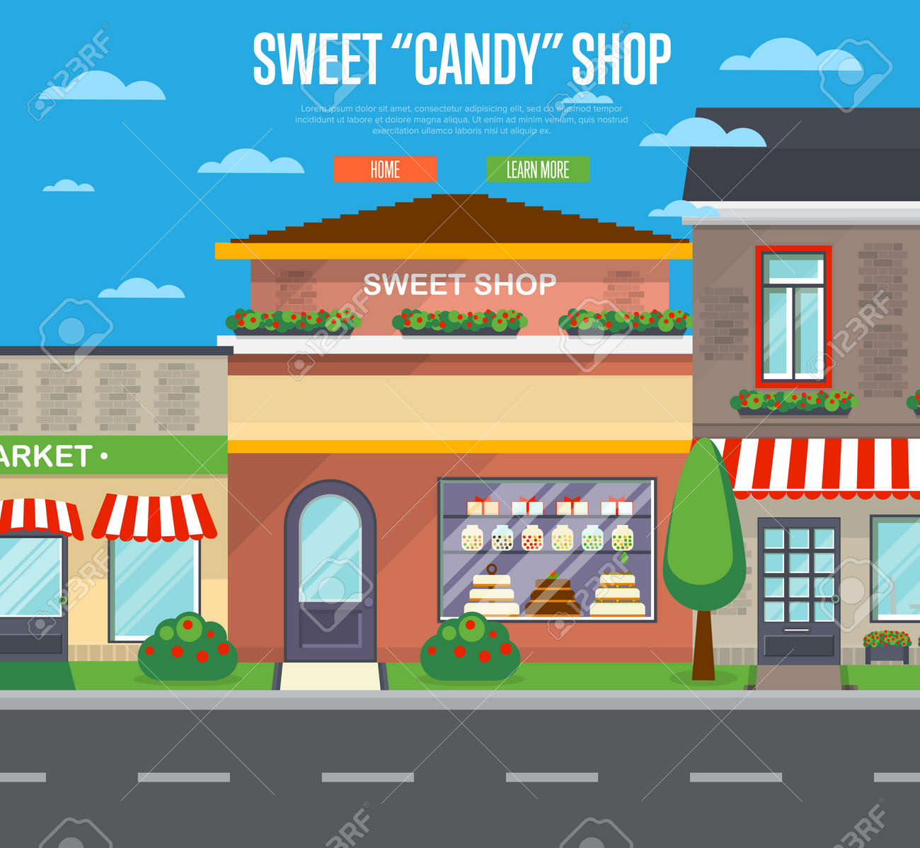 Sweet candy shop banner in flat design - 75943080