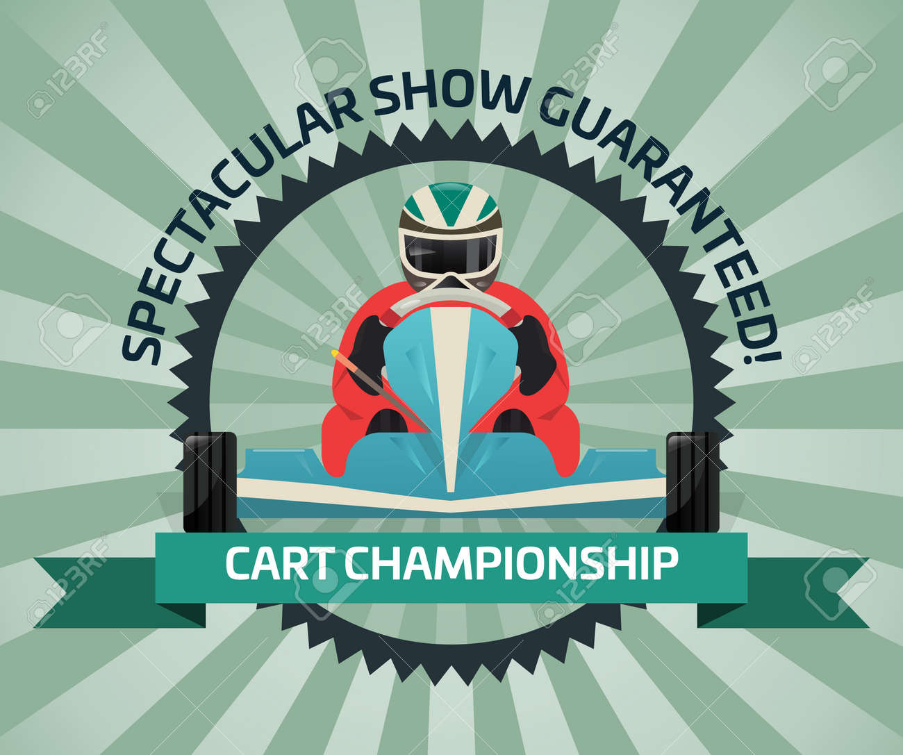 Cart championship banner in flat design vector illustration. Auto pilots competition, speed racing, extreme karting sport, automobile motor show, road trophy race. Driver racing on go kart logo. - 75943131