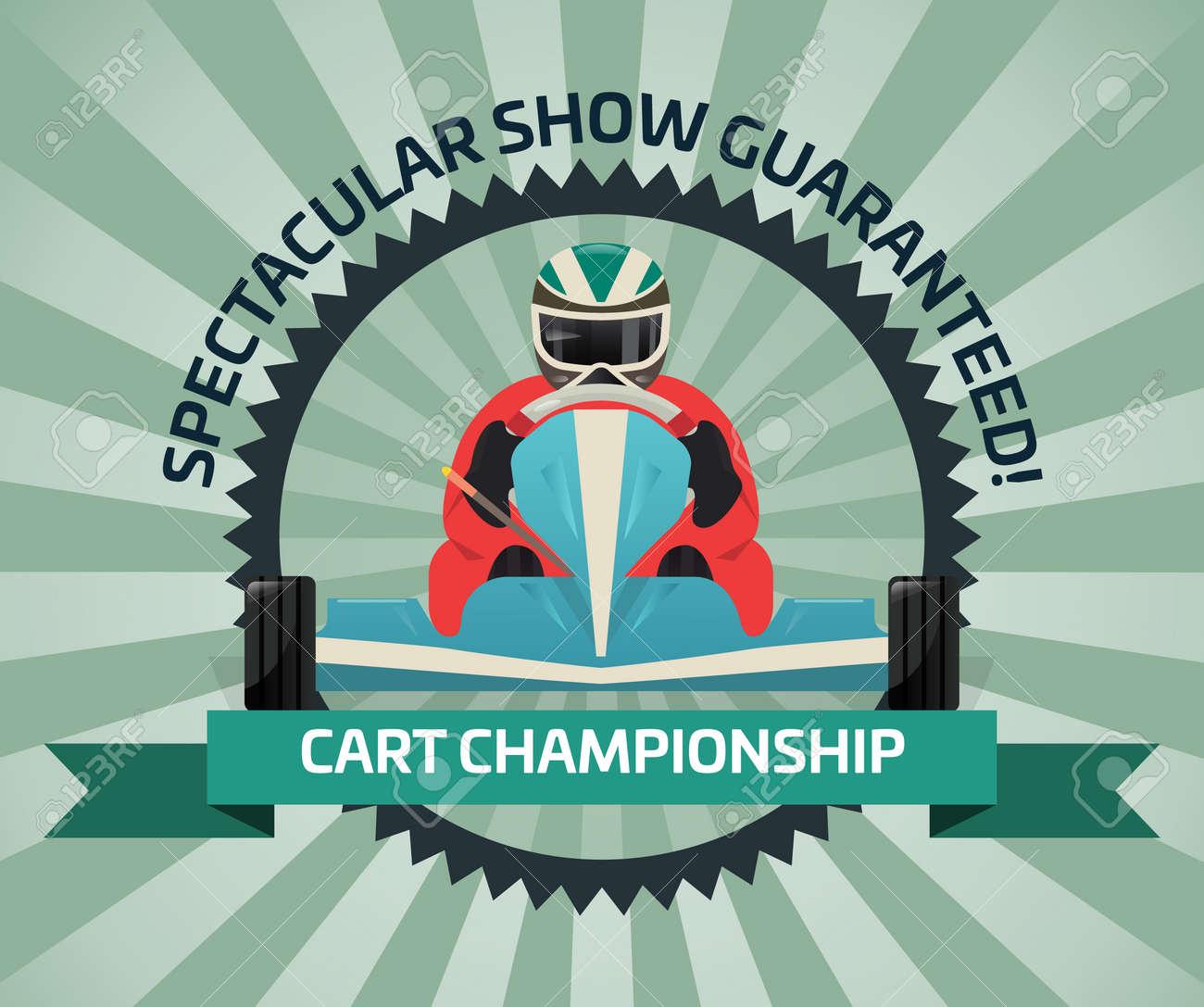 Bandera Del Campeonato Del Carro En La Ilustración Plana Del Vector ...