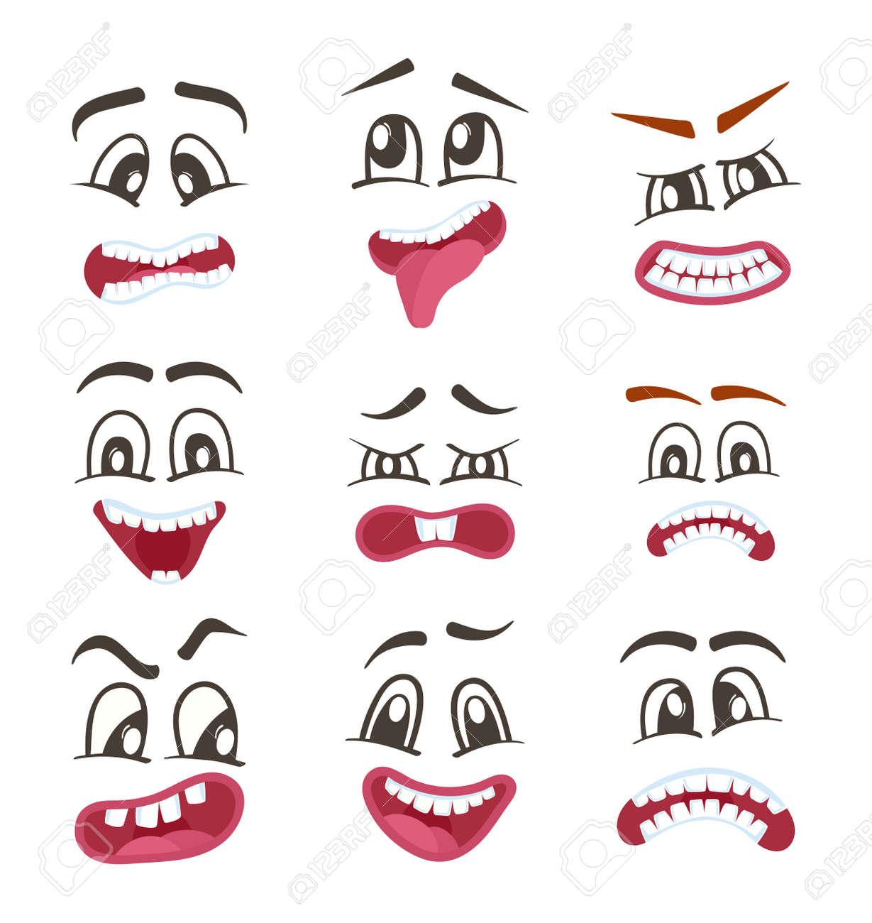 スマイル顔の表情セット分離ベクトル イラスト幸福怒り喜び恐怖