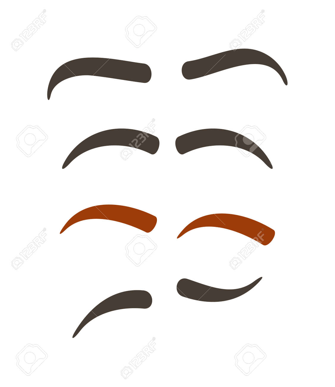Comic Eyebrow Expression Set Isolated Vector Illustration Funny