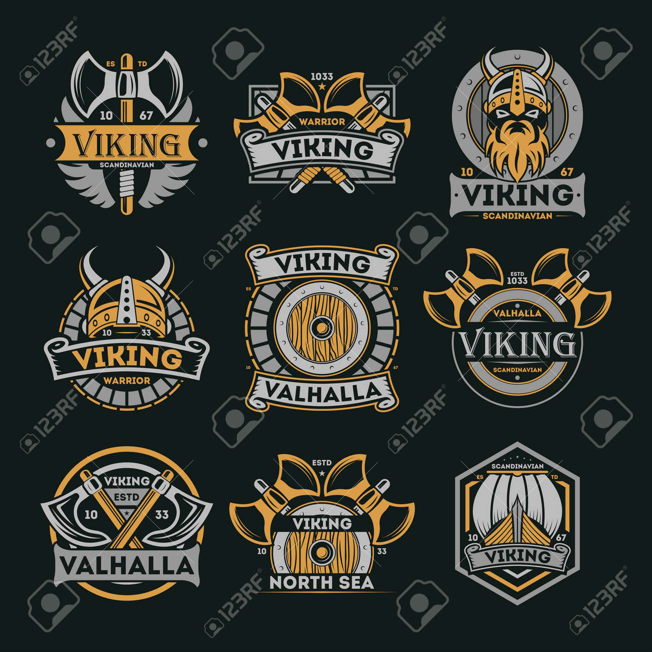 Viking vintage isolated label set. Scandinavian viking warrior badge, valhalla and north sea emblem. Medieval barbarian element collection with shield, ax, horned helmet, boat vector illustration. - 78189841
