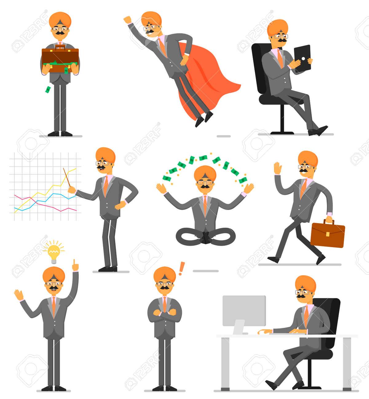 Juego De Caracteres Aislado Empresario Indio. Trabajo De Oficina ...