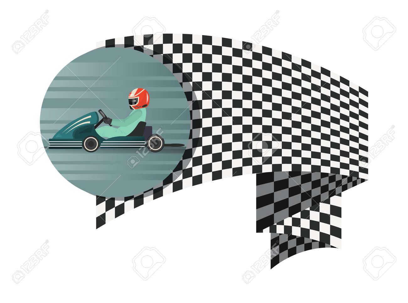 El Símbolo De La Competencia De Kart Con La Bandera A Cuadros Aisló ...