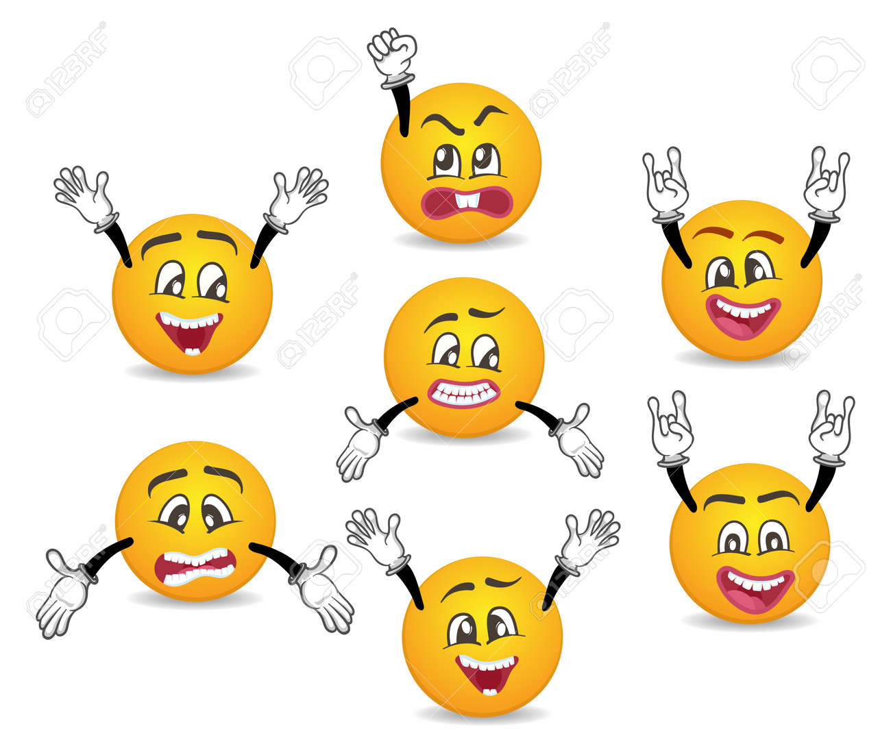 3d Funny Smileys Faces With Hands Gesture Set Happiness Anger