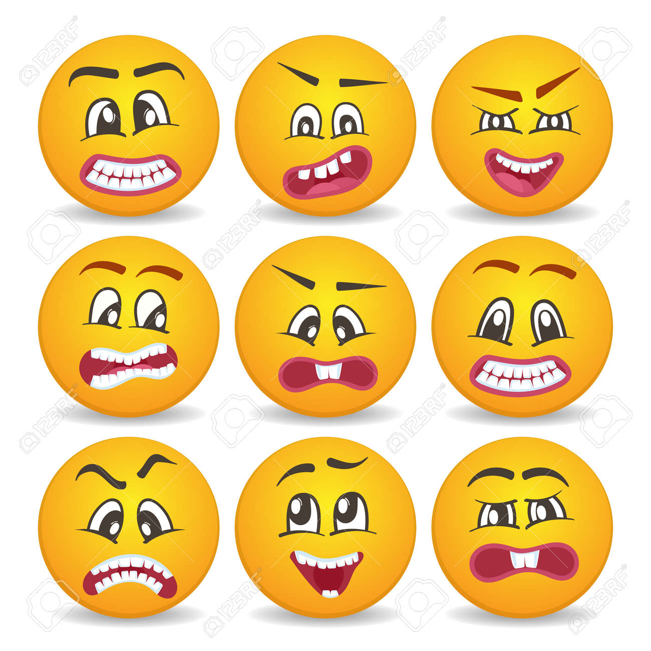 Cute Smiley Faces With Different Facial Expressions Set Emoticon