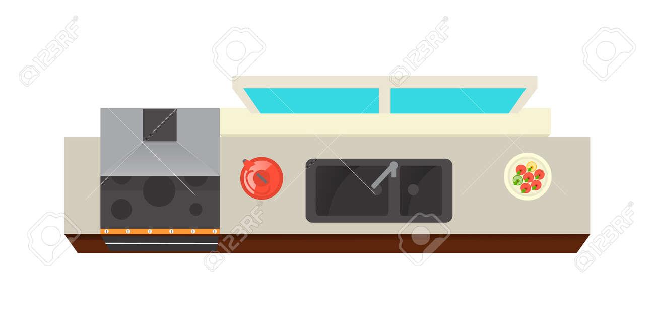 Lement Interieur De Cuisine Vue De Dessus Isole Sur Illustration Vectorielle Fond Blanc Conception De Meubles D Appartement Avec Poele Extracteur