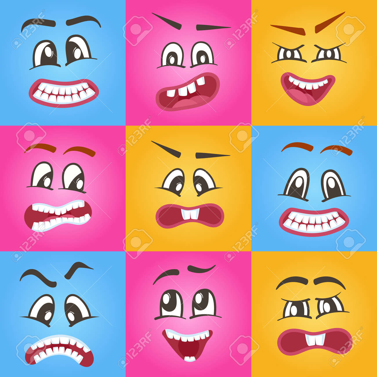 Funny Emoticons Or Vector Isolated Smileys Icons Set For Web