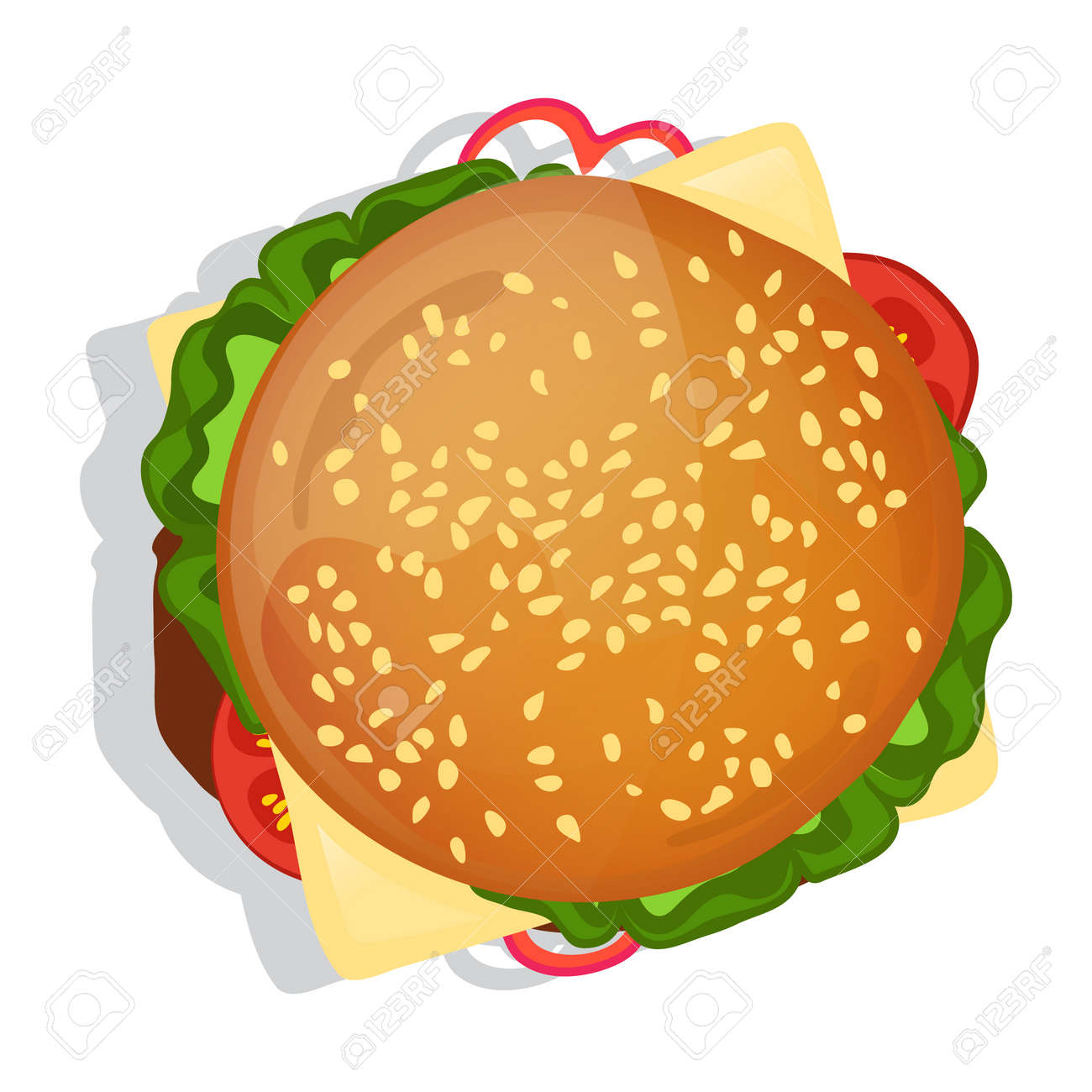Delicious burger icon vector illustration isolated on white background. Cafe or restaurant fast food snack, top view eating menu pictogram. - 78609577