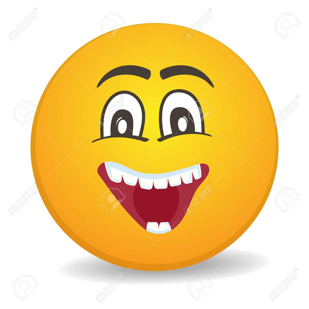 happy 3d round yellow smiley face vector icon. funny facial
