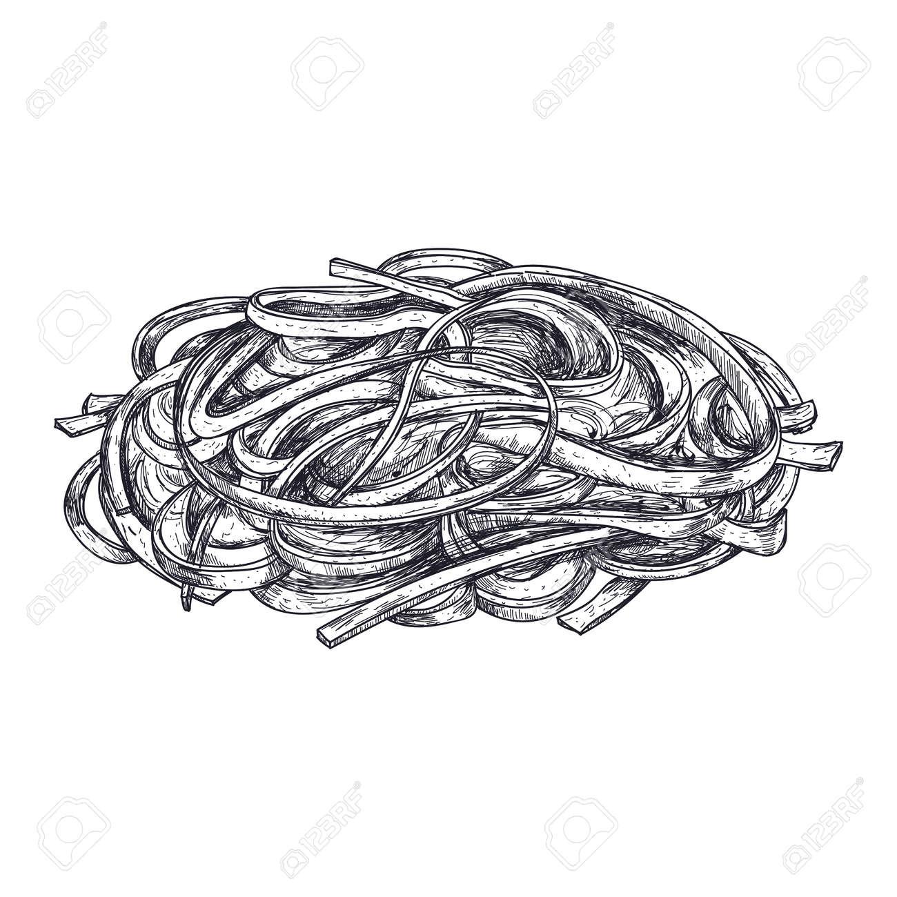 Seaweed Salad Hand Drawn Icon. Natural Fresh Seafood Sketch ...