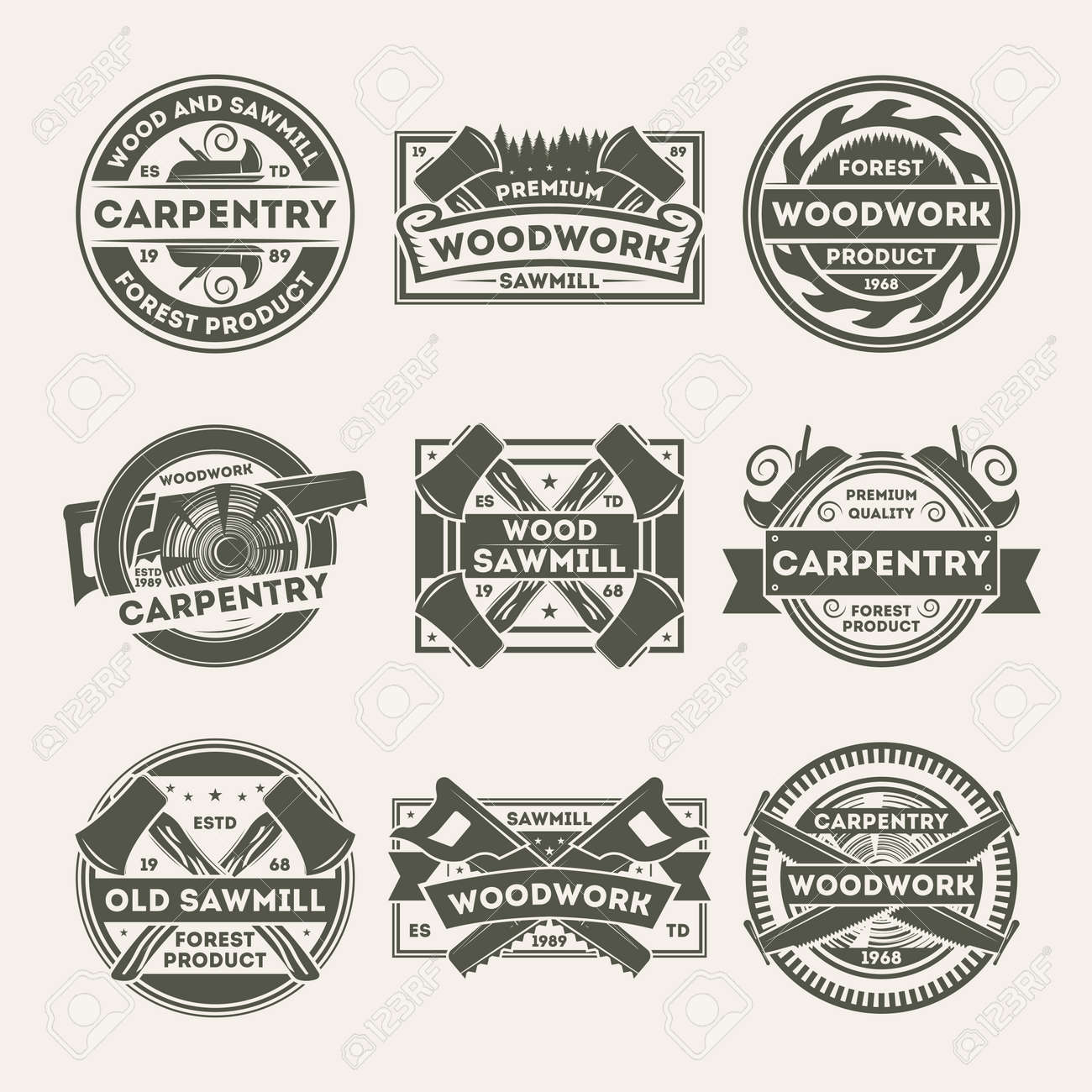 woodwork company vintage isolated label set. forest woodwork