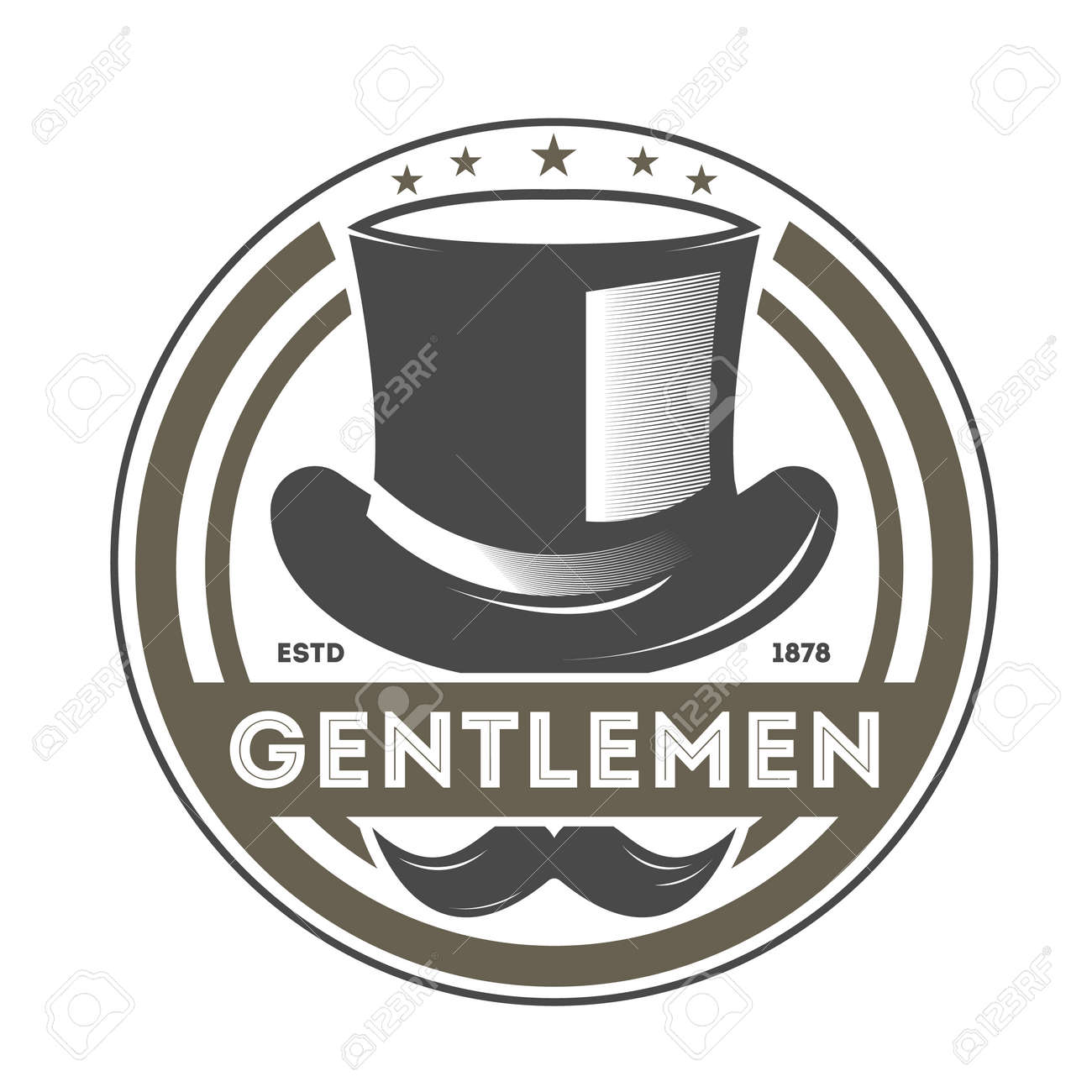 94e530513c3 Gentleman vintage isolated label with cylinder hat and mustache. Man club  badge