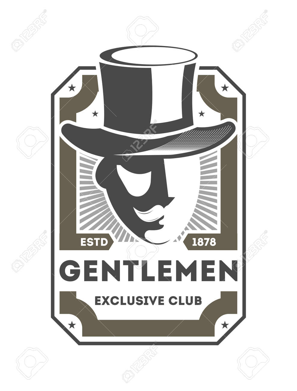 317755fd915 Gentleman exclusive club vintage isolated label with man in cylinder hat. Man  club badge