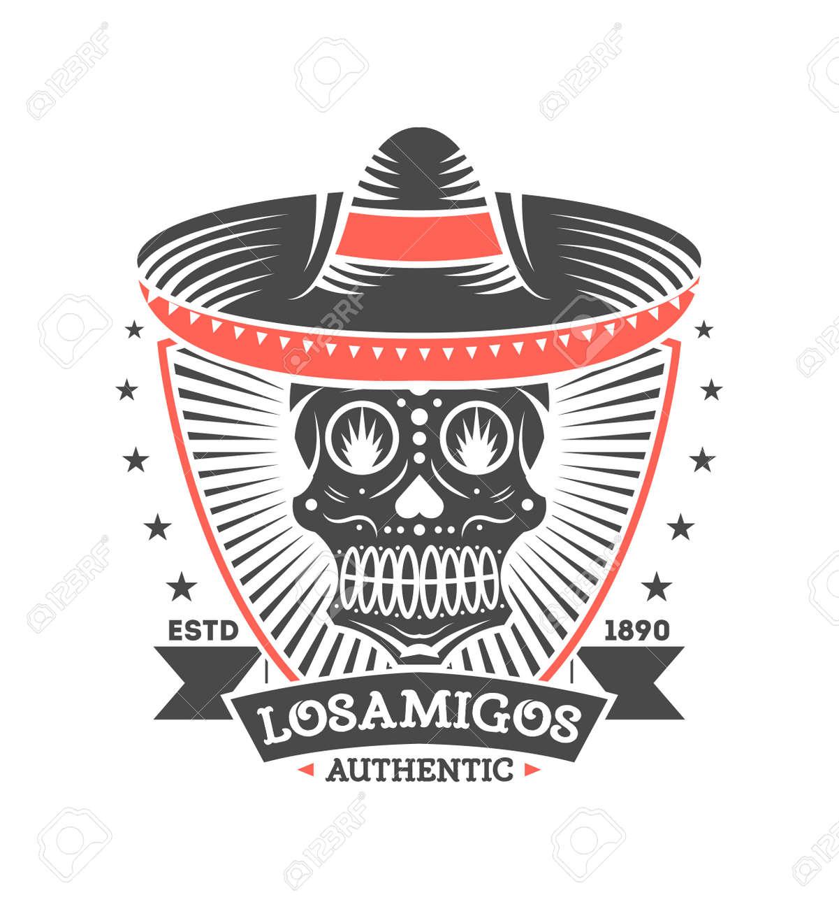 Etiqueta Aislada Vintage De Los Amigos Con Calavera En Sombrero