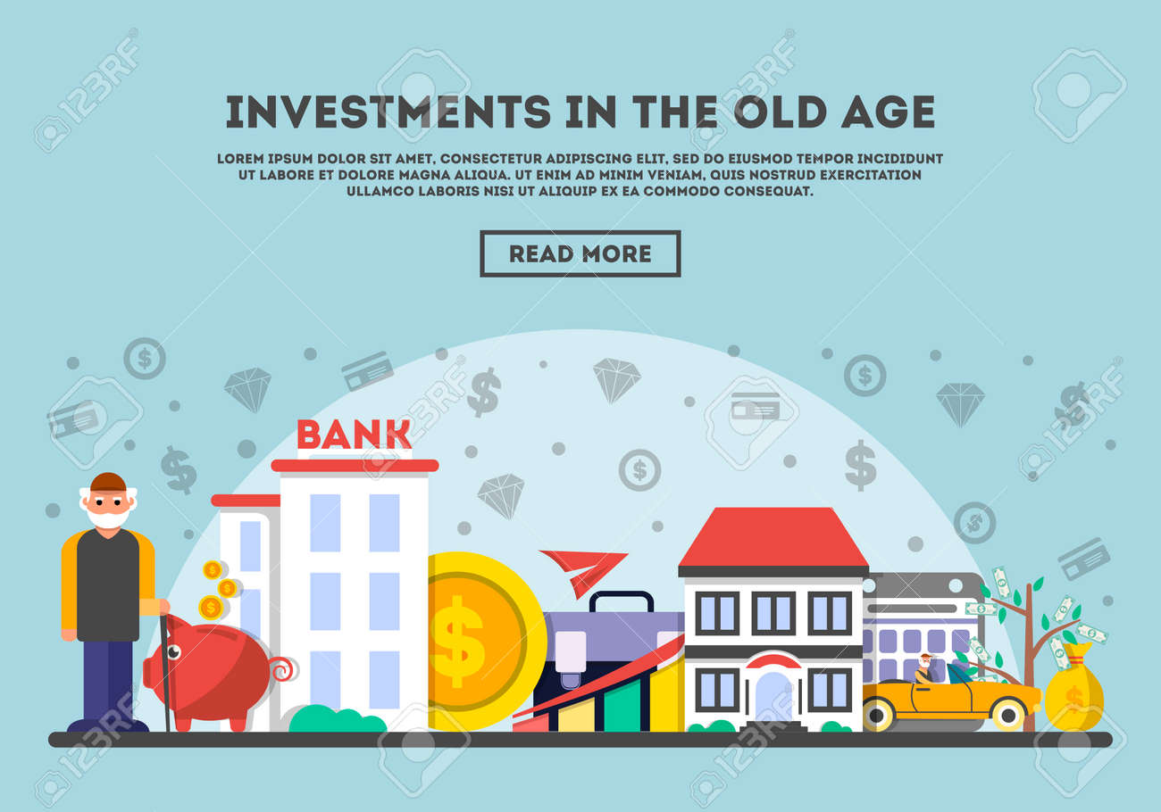 Investments in the old age vector illustration  Design concept