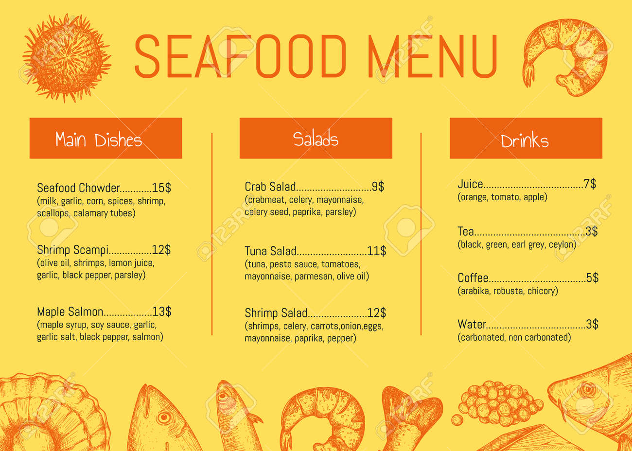 Seafood Restaurant Menu Brochure Template Natural Healthy Meal Royalty Free Cliparts Vectors And Stock Illustration Image 81372374