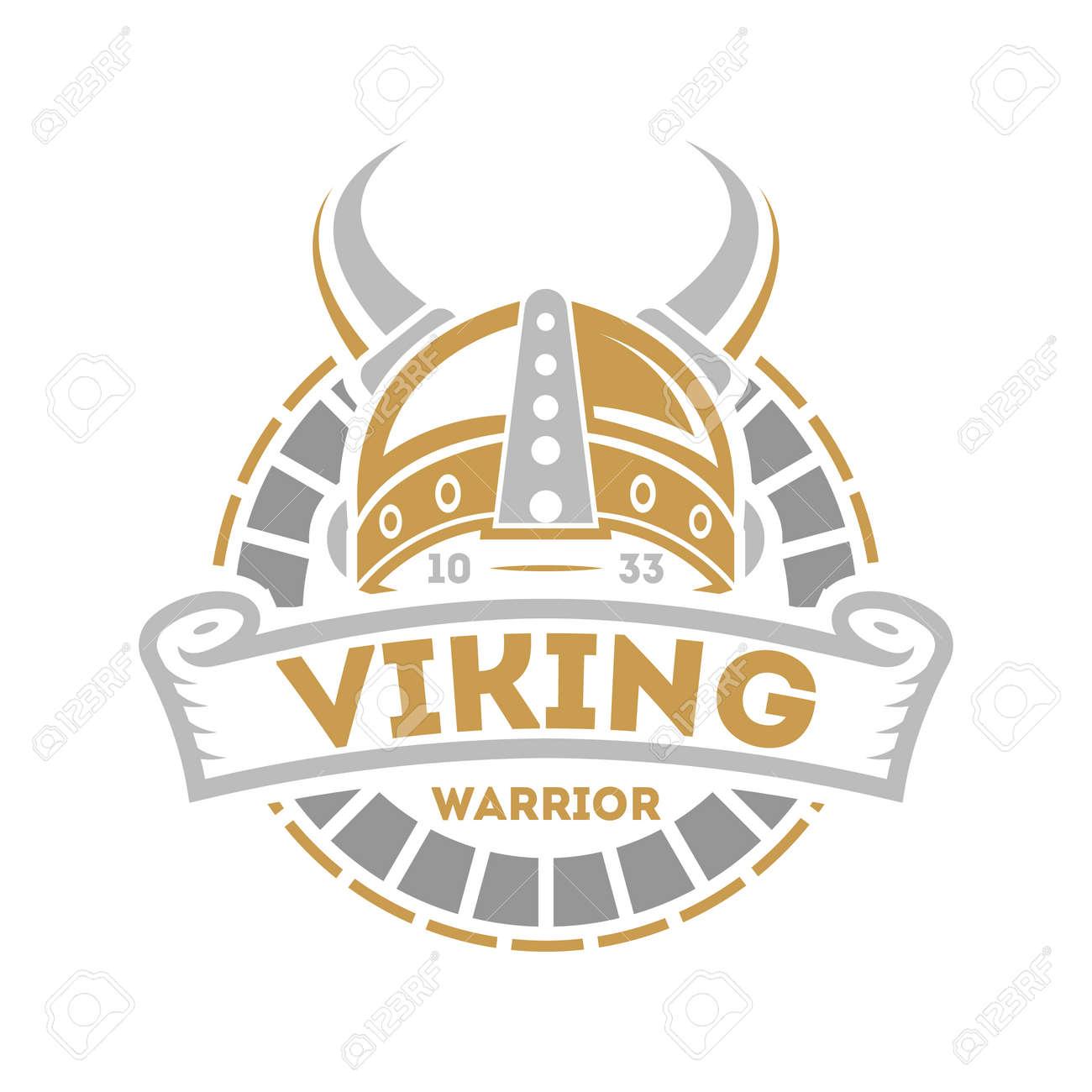 Viking isolated label with horned helmet. Scandinavian viking warrior badge, medieval barbarian emblem, nordic culture vector illustration. - 81372846