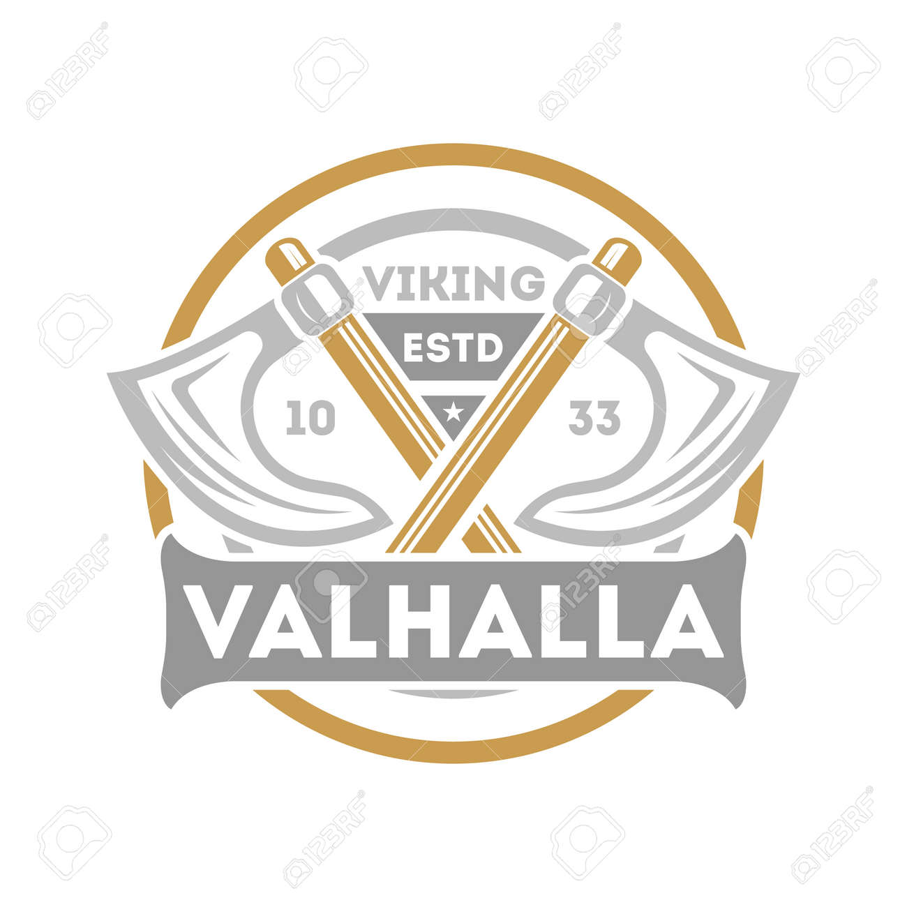 Viking valhalla isolated label with crossed ax. Scandinavian viking warrior badge, medieval barbarian emblem, nordic culture vector illustration. - 81373010