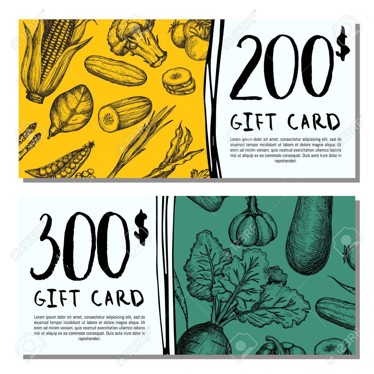 Conjunto de tarjetas de regalo de café vegano. Ejemplo del vector del producto vegetariano, diseño natural del vale del descuento de la tienda de la
