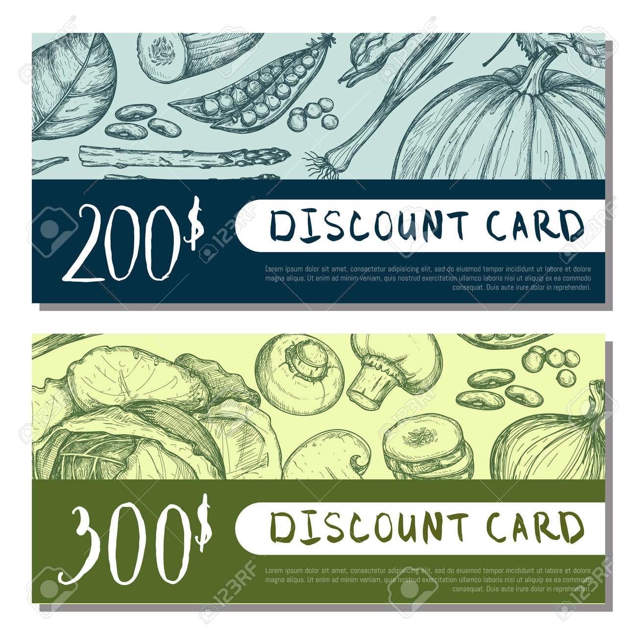 Conjunto de tarjeta de descuento de tienda de alimentos orgánicos. El ejemplo vegetariano del vector del producto, el diseño natural del vale del