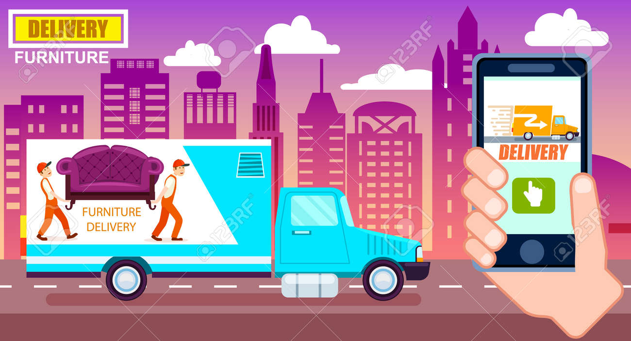 Furniture delivery poster with freight truck  Commercial shipping