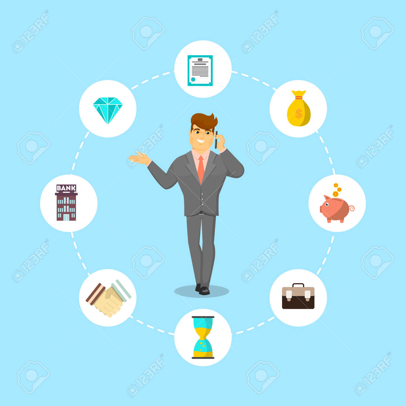 Successful businessman speaking on phone. Standing young man in business suit and tie talking about money vector illustration. Smart investment opportunity in securities, real estate or bank deposit. - 81723328