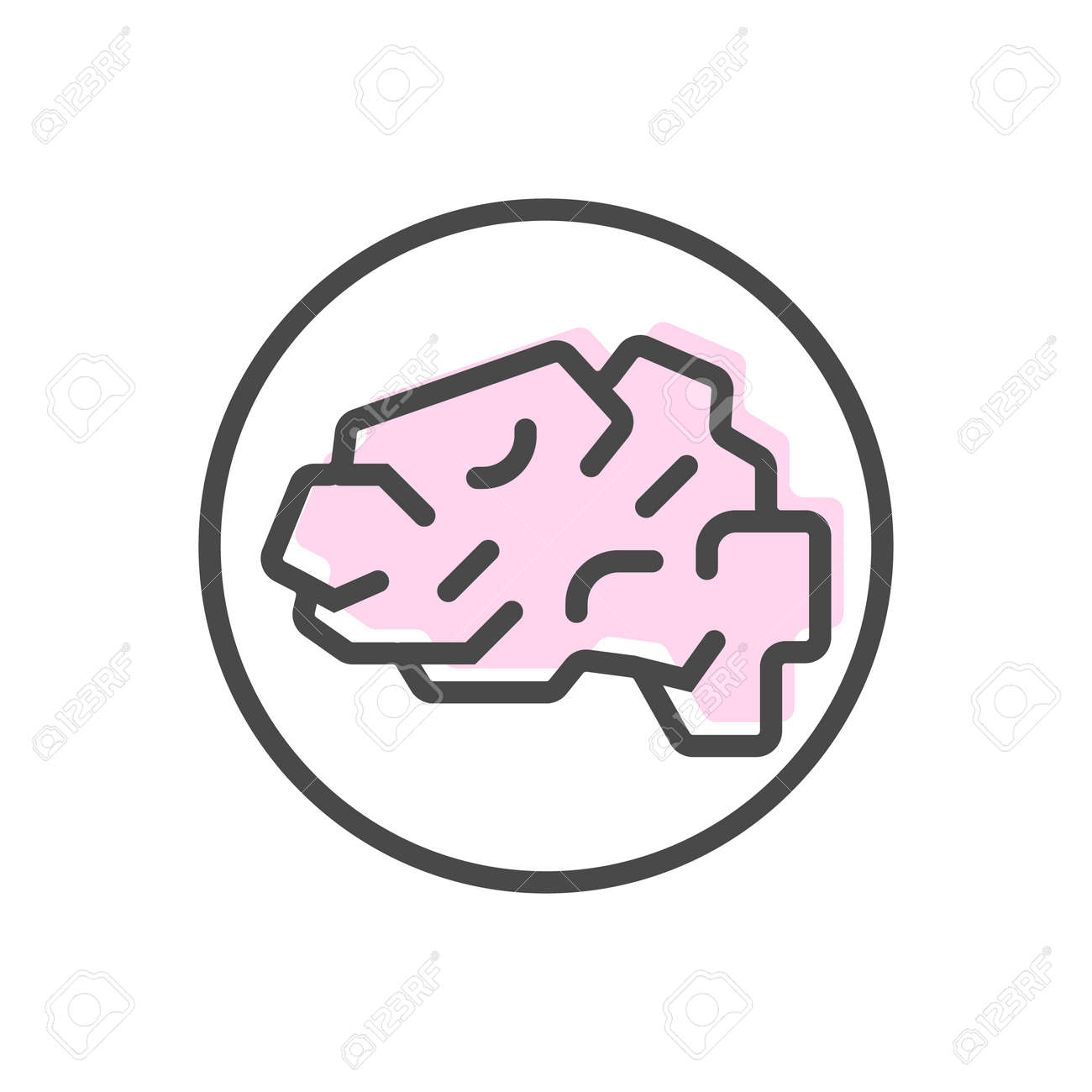 Artificial intelligence icon with brain symbol. Modern cyber linear pictogram, smart new technologies and