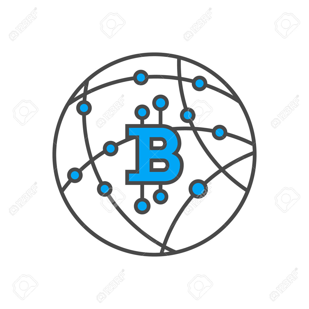 83309733 Blockchain Network Conceptual Icon Distributed Ledger Technology Business Cloud Computing Global Pay Stock Vector Database