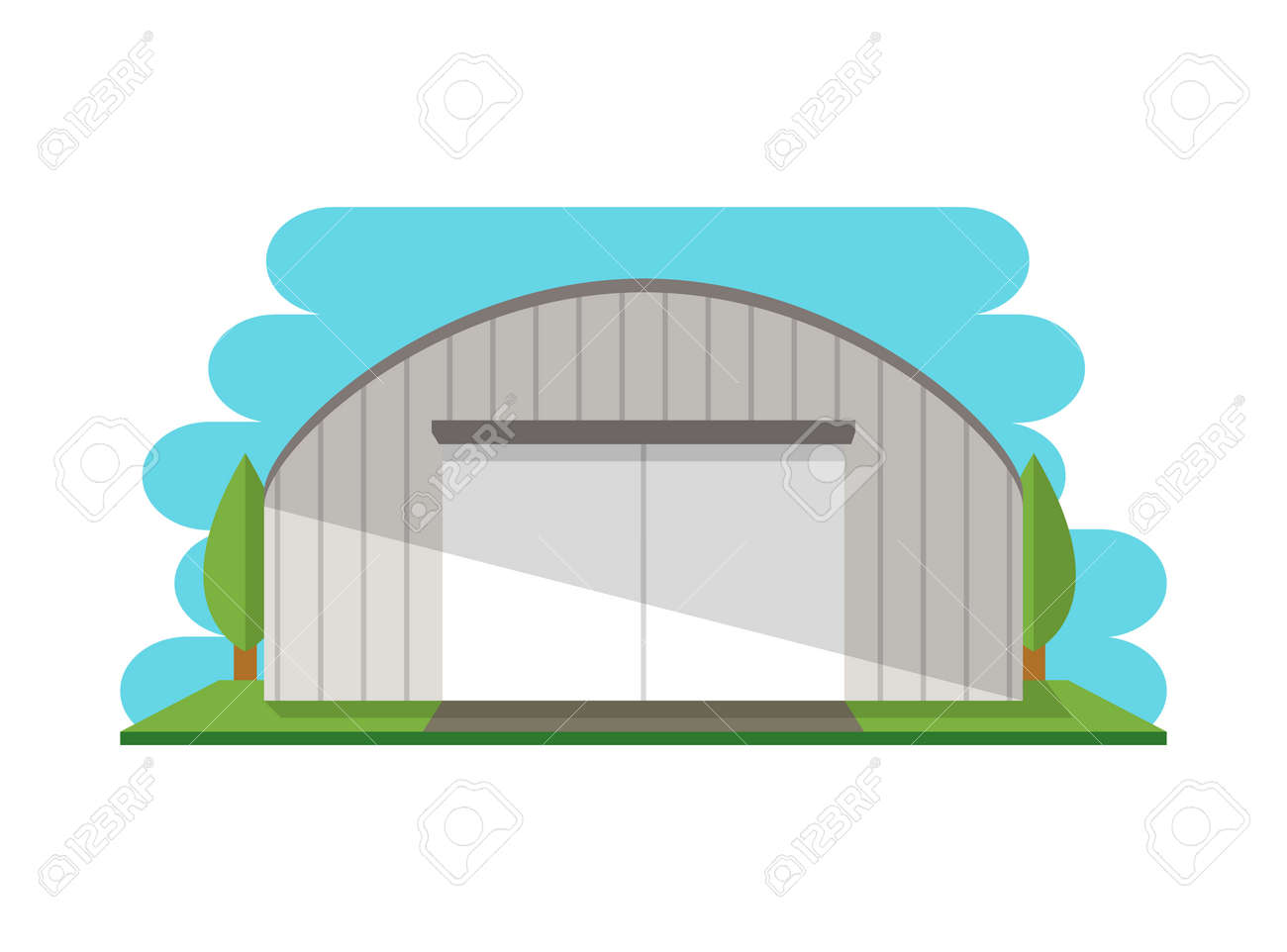 Modern storage terminal isolated icon. Business real estate, front view cargo storehouse vector illustration in flat design. - 83670644