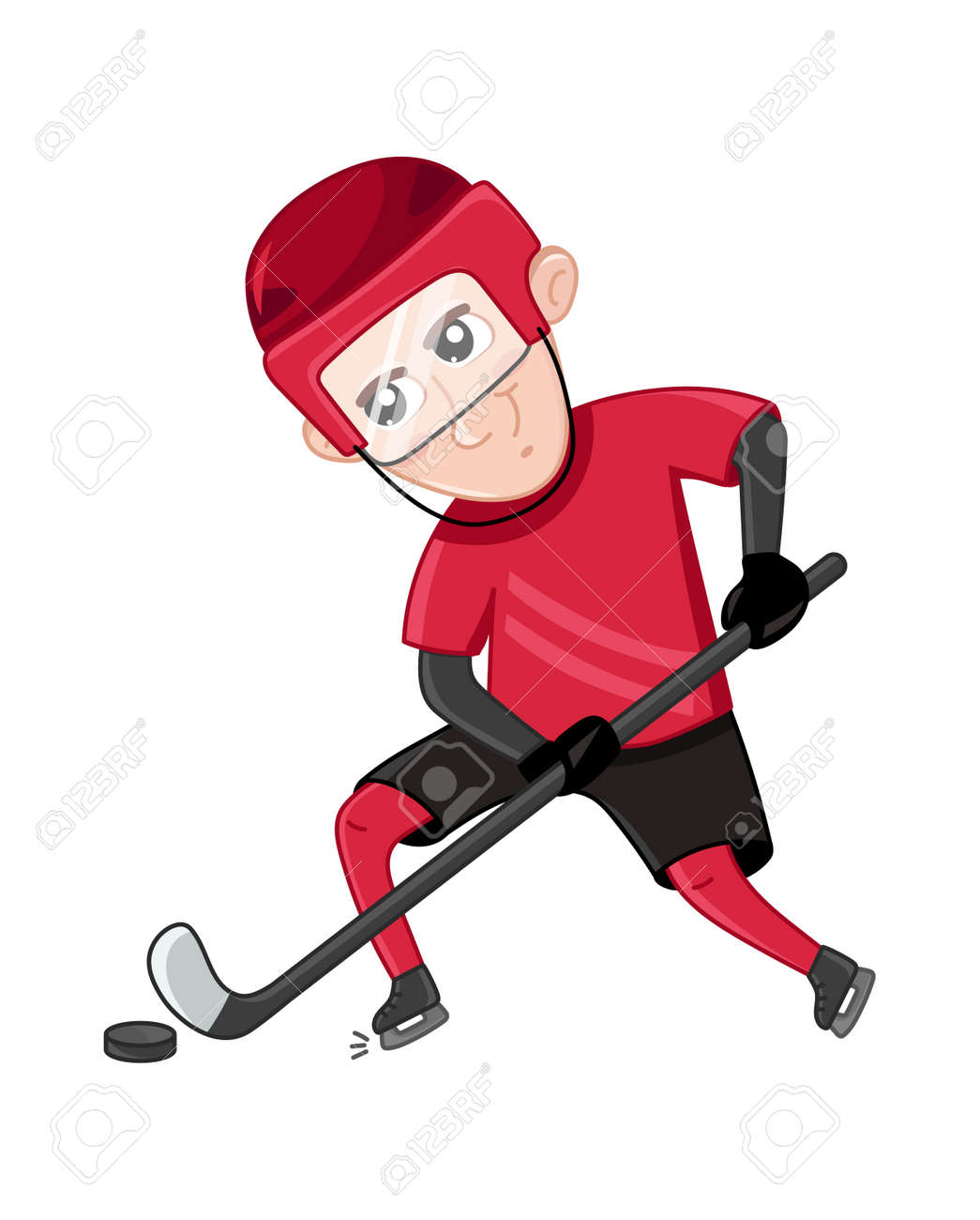 Boy Ice Hockey Player In Sport Uniform Interesting Children Royalty Free Cliparts Vectors And Stock Illustration Image 83943092