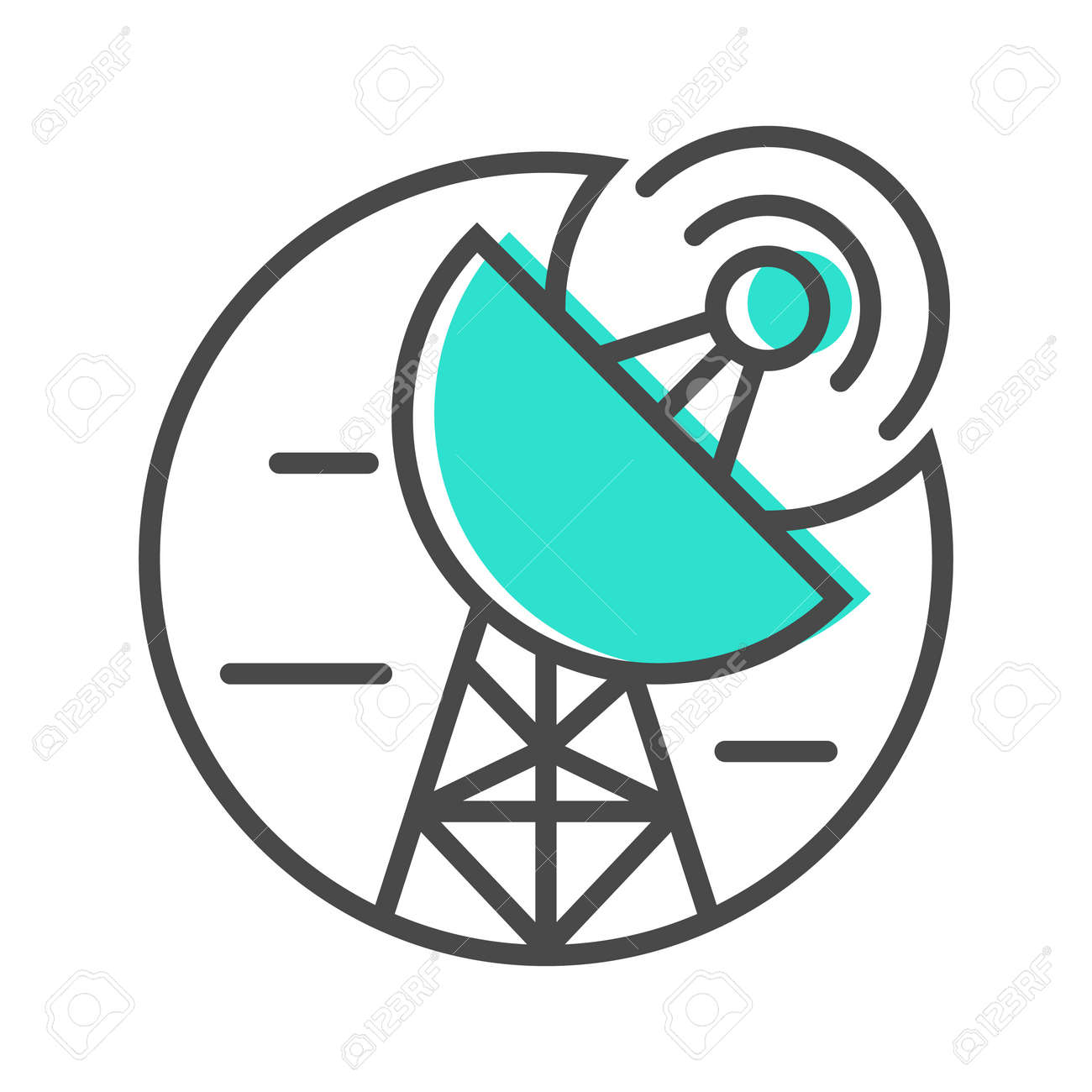 Data Stream Linear Icon With Satellite Dish Sign. Financial Data Analysis,  Business Analytics Pictogram