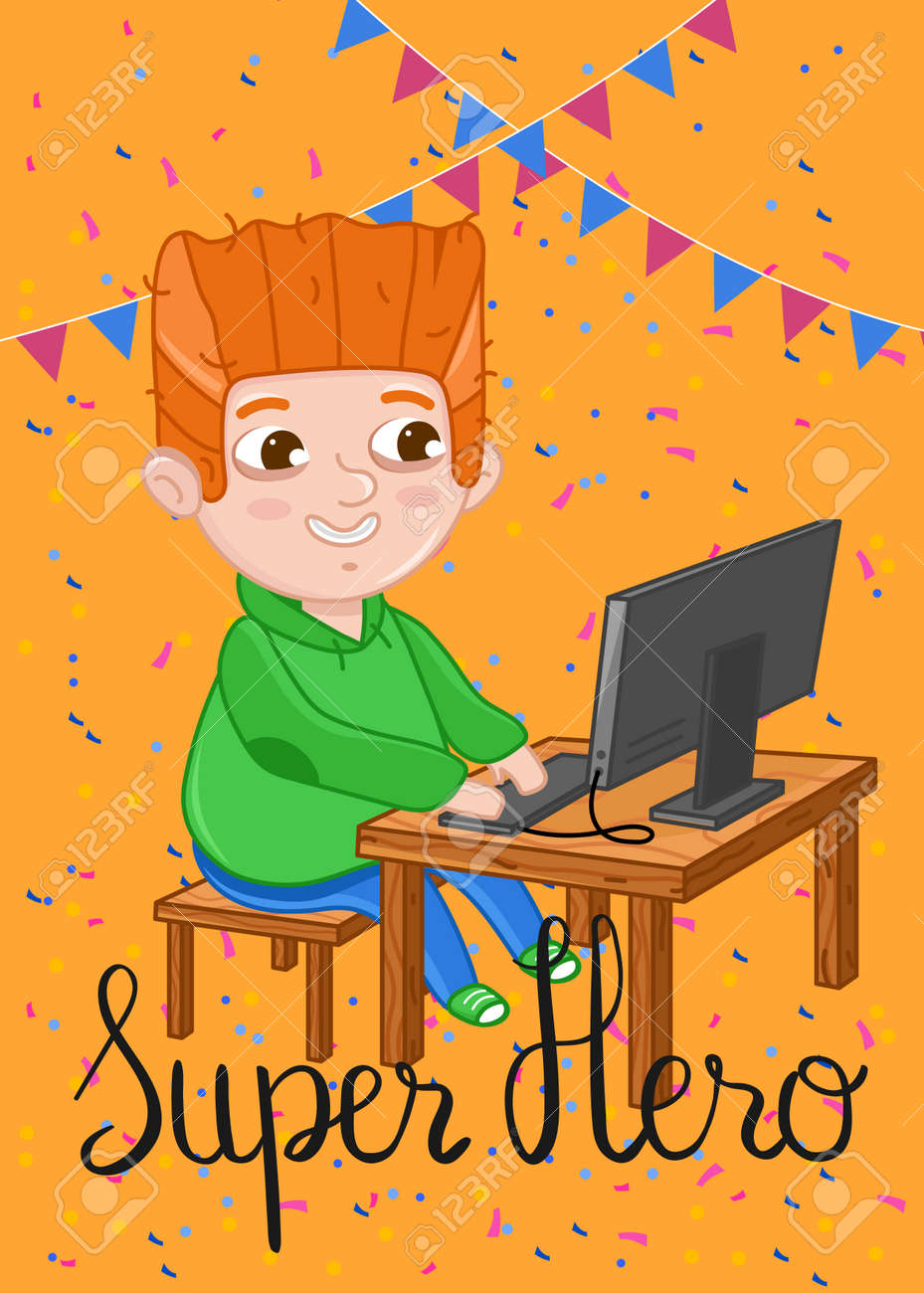Super Hero Kids Postcard With Boy Playing On Computer Cute Greeting