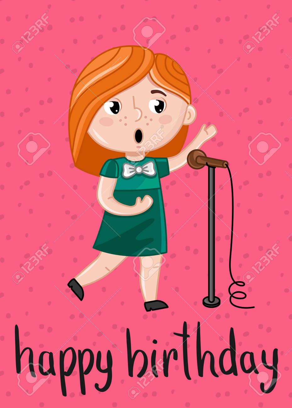Happy Birthday Kids Postcard With Little Girl Singer With Microphone